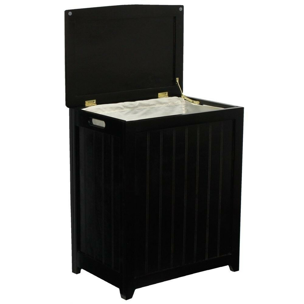Wood laundry hamper tilt out bin diaper pail wastebasket trash can black sorter ebay - Tilt laundry hamper ...