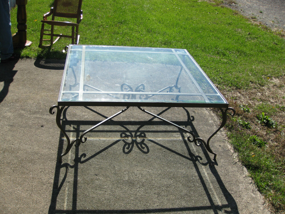 """Thomasville Furniture Nj Large Wrought Iron Heavy Glass Top Coffe Table, 42"""" Square ..."""