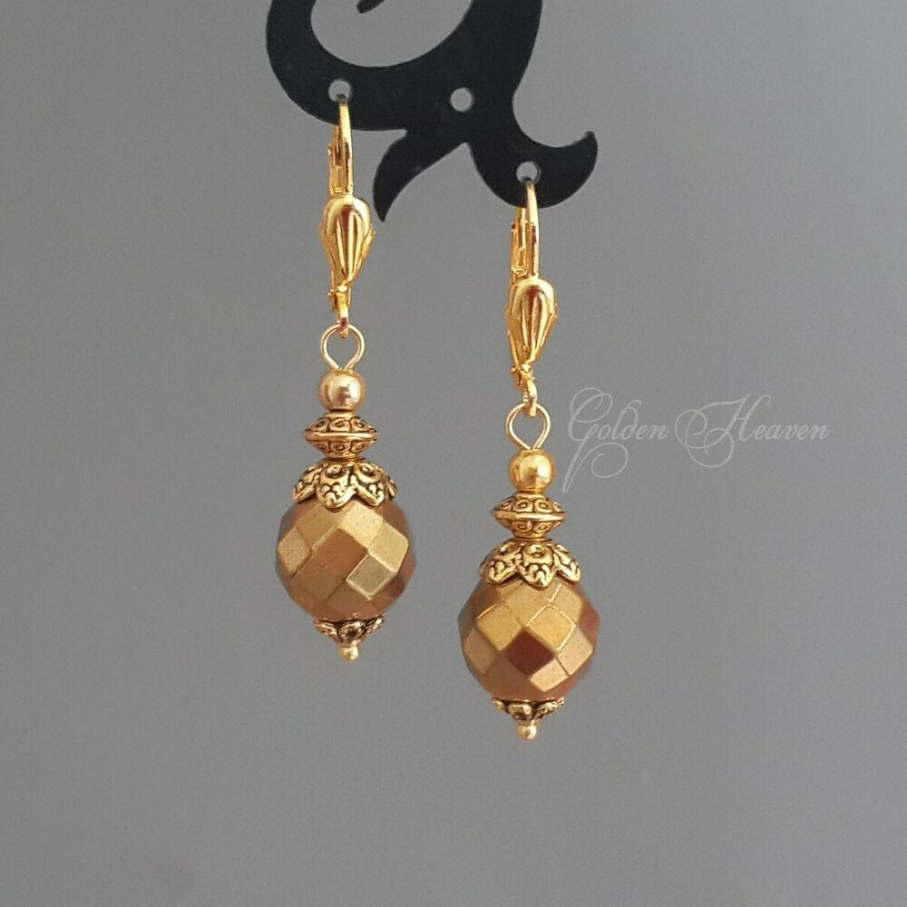 Gold Faceted Hematite Stone Gold Plated Leverback Dangle