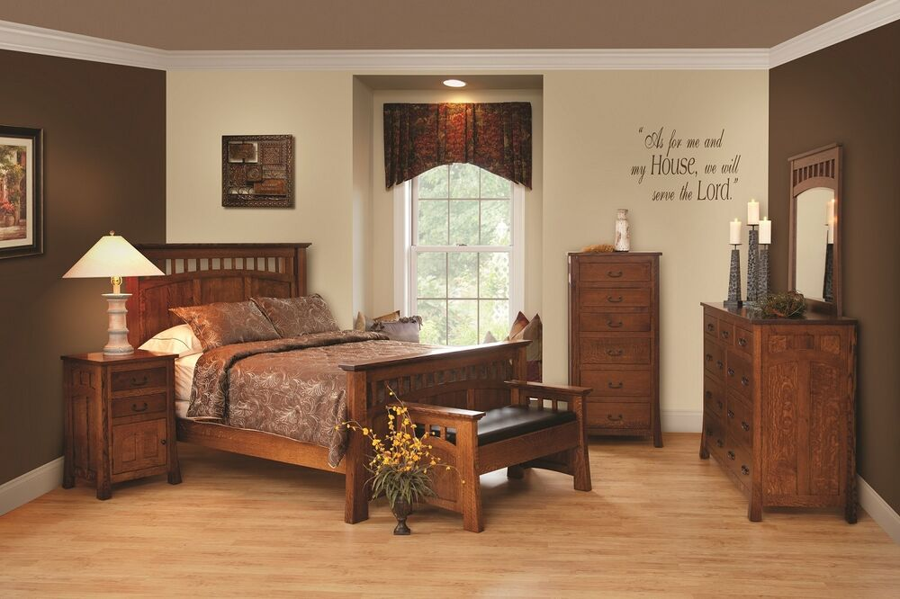amish luxury bridgeport mission bedroom set solid wood