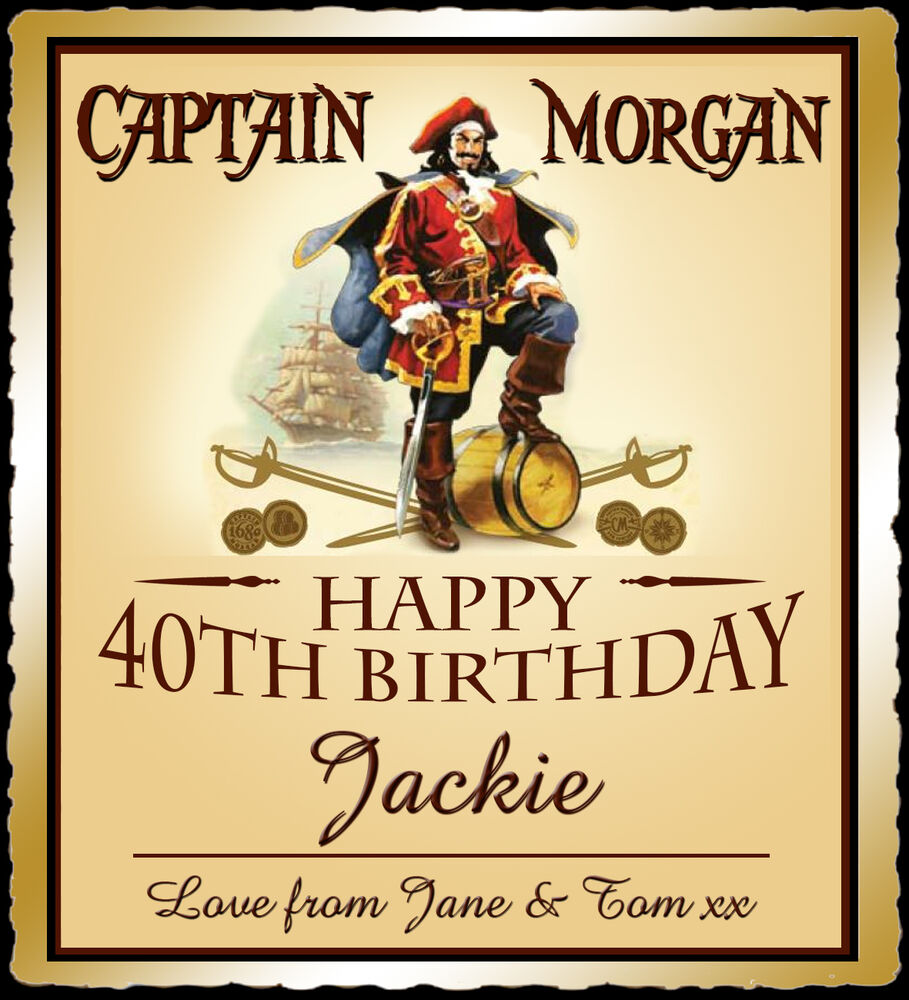 Personalised Captain Morgan Spice bottle label, birthday ...