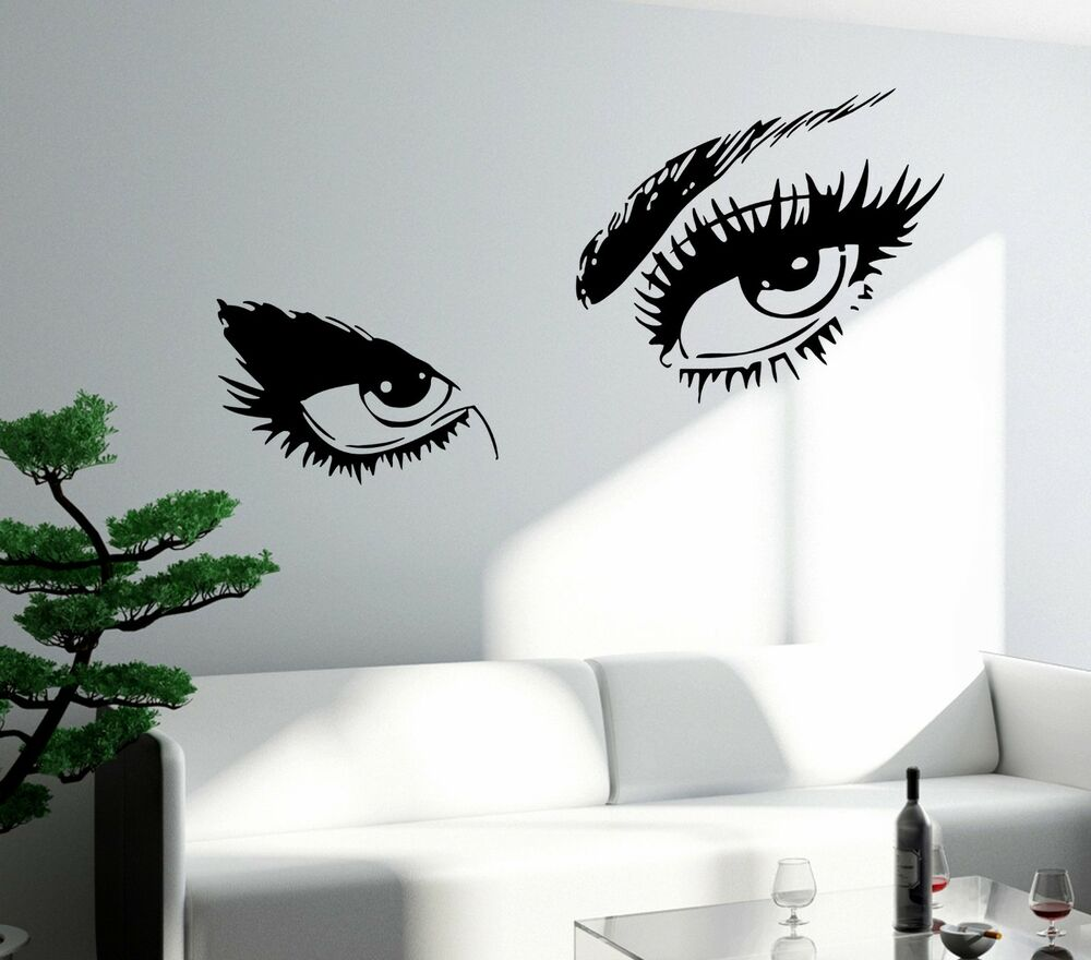 wall sticker sexy hot eyes girl teen woman big decal for living room decor z2561 ebay. Black Bedroom Furniture Sets. Home Design Ideas