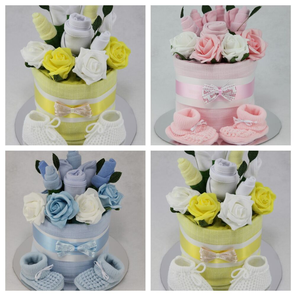 Baby Boy Gifts Flowers : Baby boy girl unisex clothes flower bouquet nappy cake new