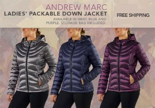 New Andrew Marc Womens Packable Lightweight Down Jacket