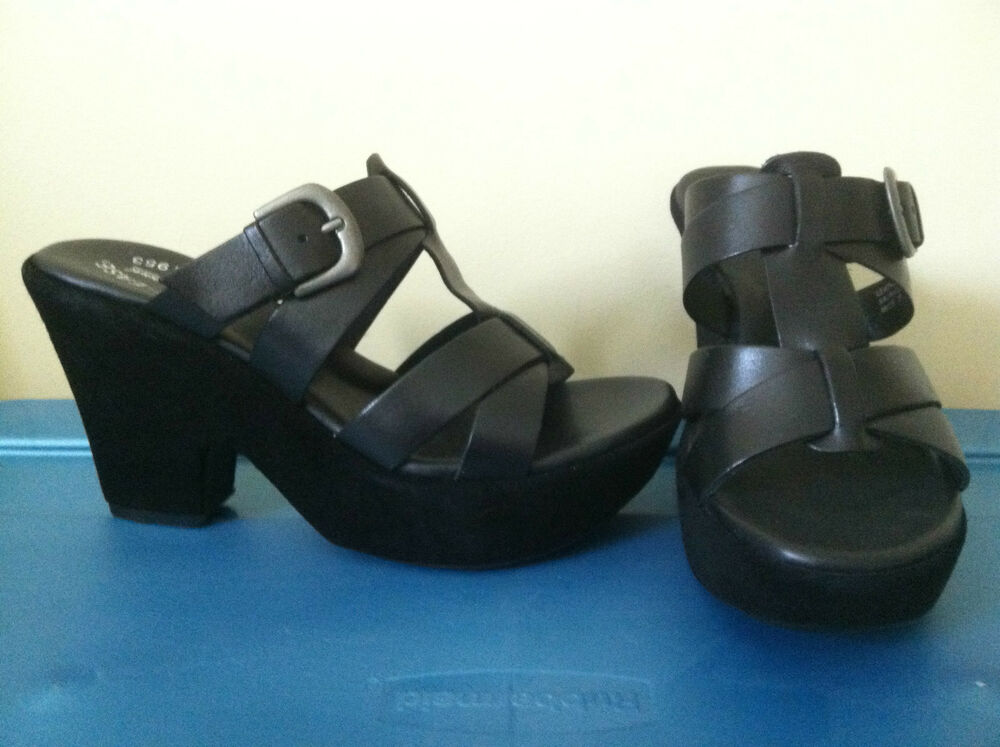 kork ease beatrice sz 7 38 black platform wedge sandals