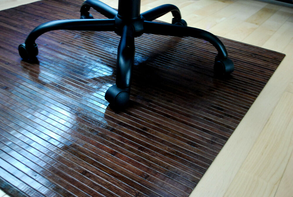 bamboo chair mat office wood floor protector choco walnut