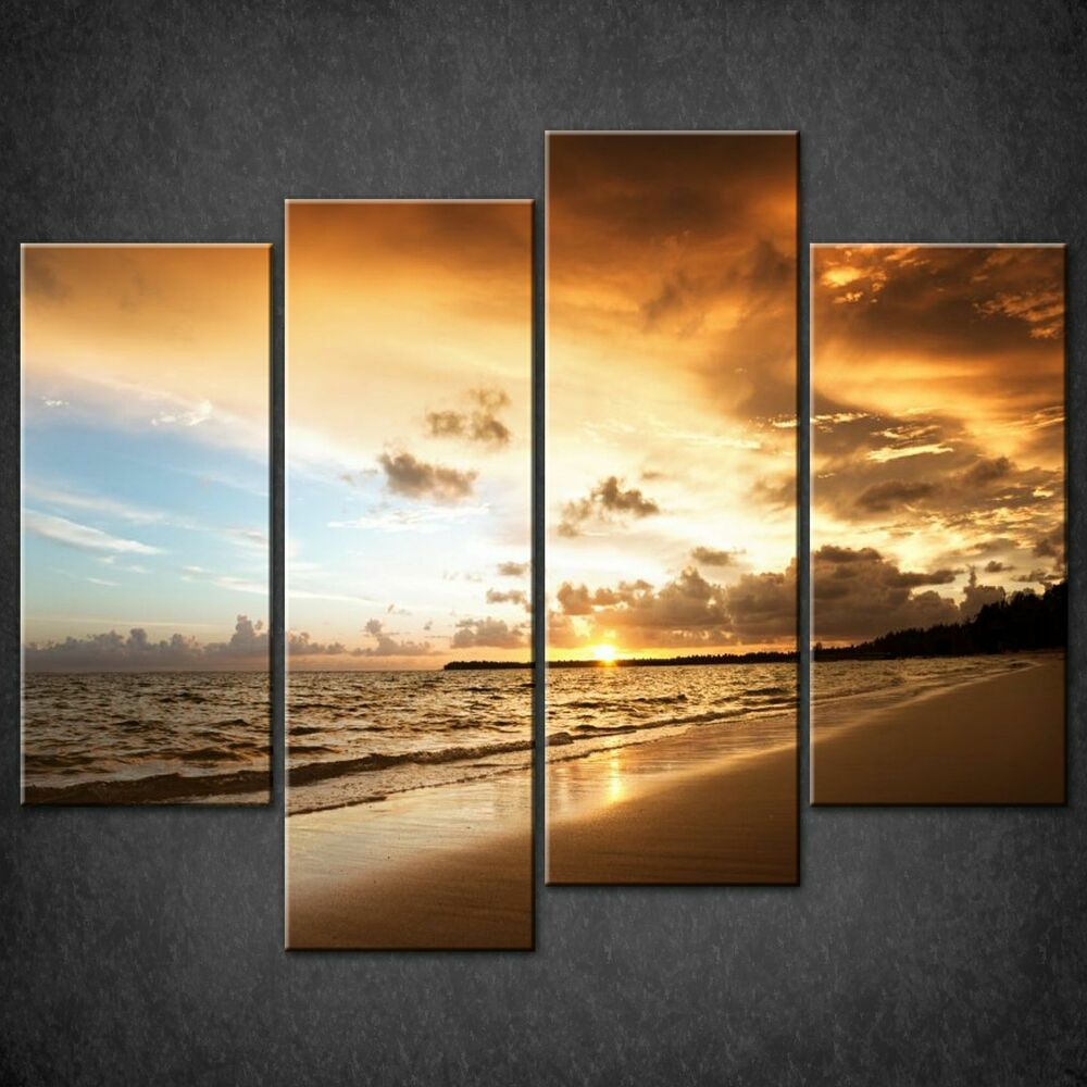 Caribbean sea beach split canvas wall art pictures prints for Split wall