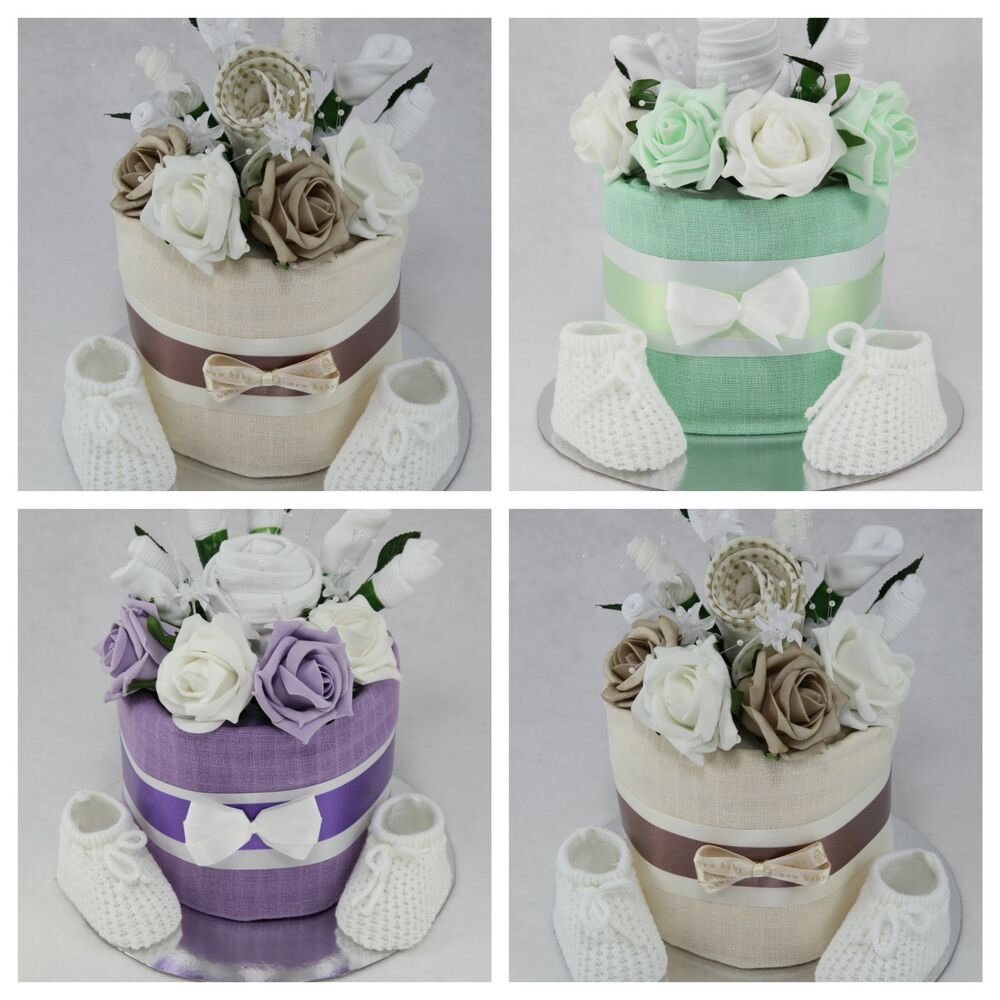 New Baby Floral Gift Ideas : Baby boy girl unisex clothes flower bouquet nappy cake new