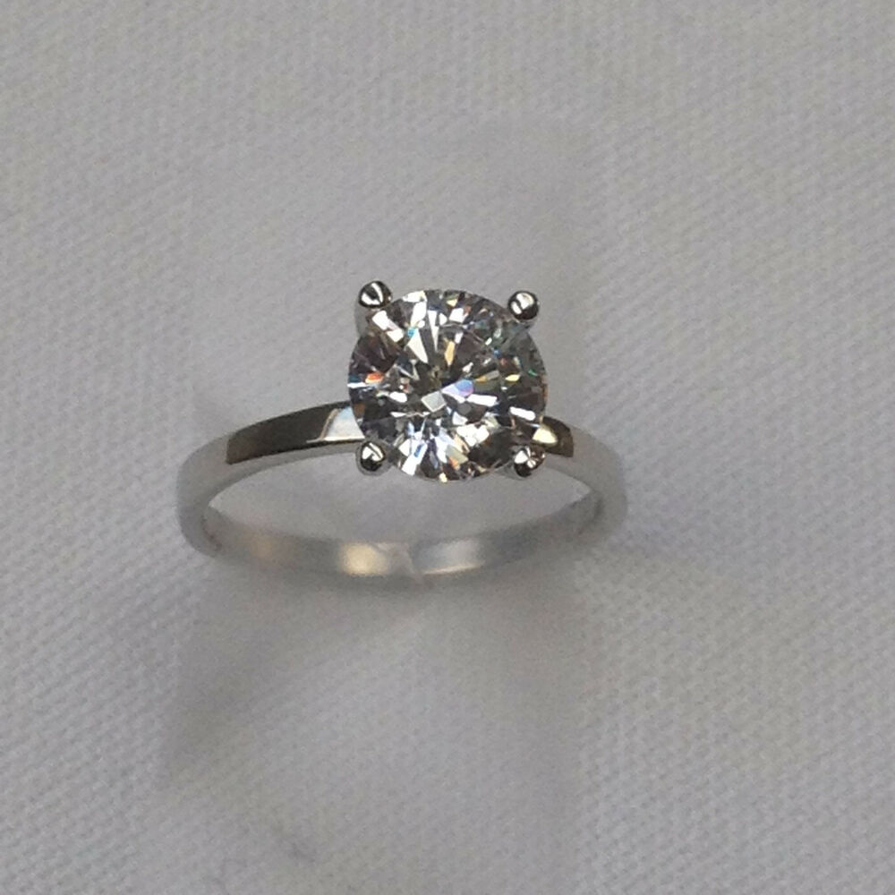 Brilliant Cut Engagement Ring Round C Z Thin Band Wedding Solitaire1 3 c