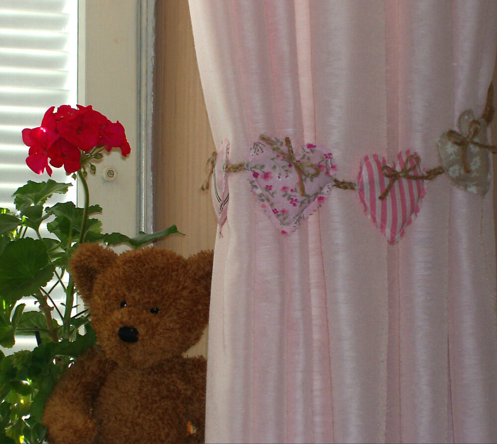 FABRIC HEARTS AND JUTE ROPE CURTAIN TIE BACKS PAIR