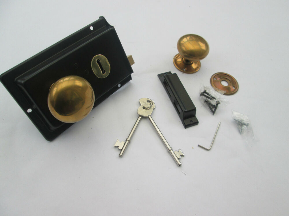 Old vintage period victorian style solid brass black rim - Old fashioned interior door locks ...
