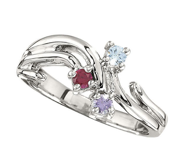 Sterling Silver Mother S Birthstone Ring 1 5 Stones Moms