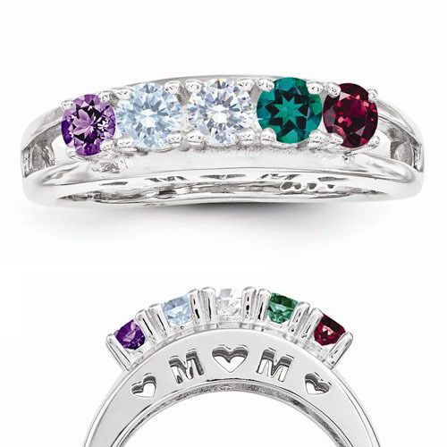 sterling silver mom birthstone ring 1 5 stones mother 39 s. Black Bedroom Furniture Sets. Home Design Ideas
