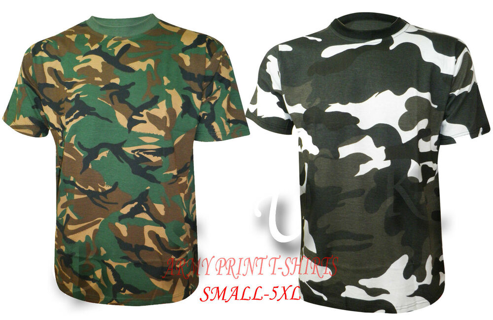 Mens military combat camouflage army print casual t shirt for Camouflage t shirt printing