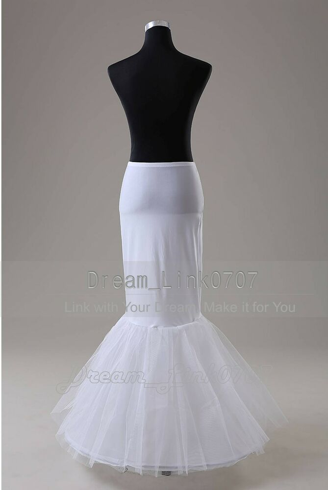 One hoop fishtail wedding dress ball gown bridal petticoat for Mermaid slip for wedding dress