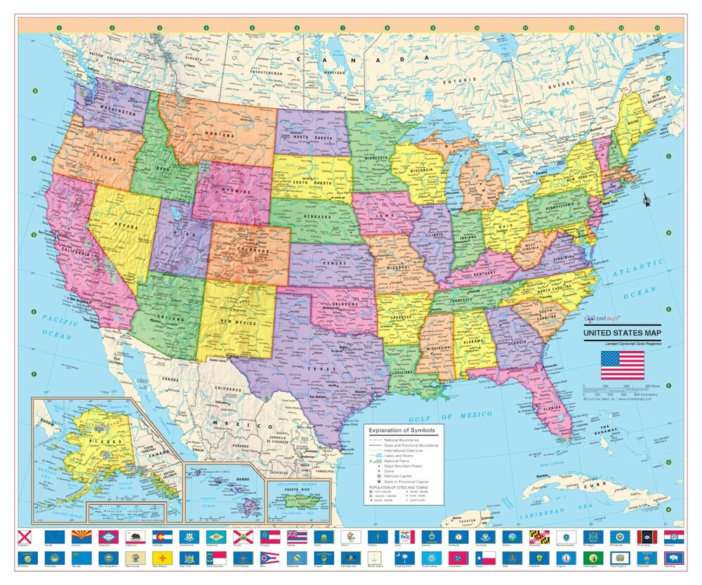 Cool Owl Maps United States Wall Map Poster 24 X20 Us Flags Paper 2017 Ebay