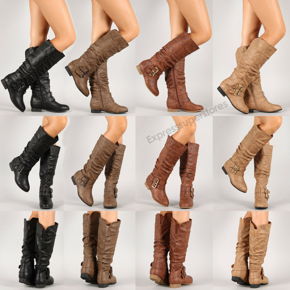 Womens New Riding Boots Knee High Fashion Faux Leather Boot ...