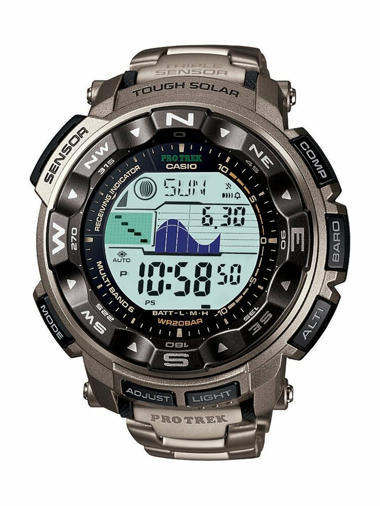 casio men 39 s prw 2500t 7cr pro trek tough solar digital sport titanium watch 79767464325 ebay