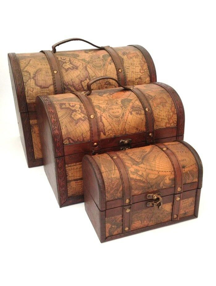 Pirate Treasure Chest Vintage Colonial Map Atlas Design Storage Trunk Wedding Ebay