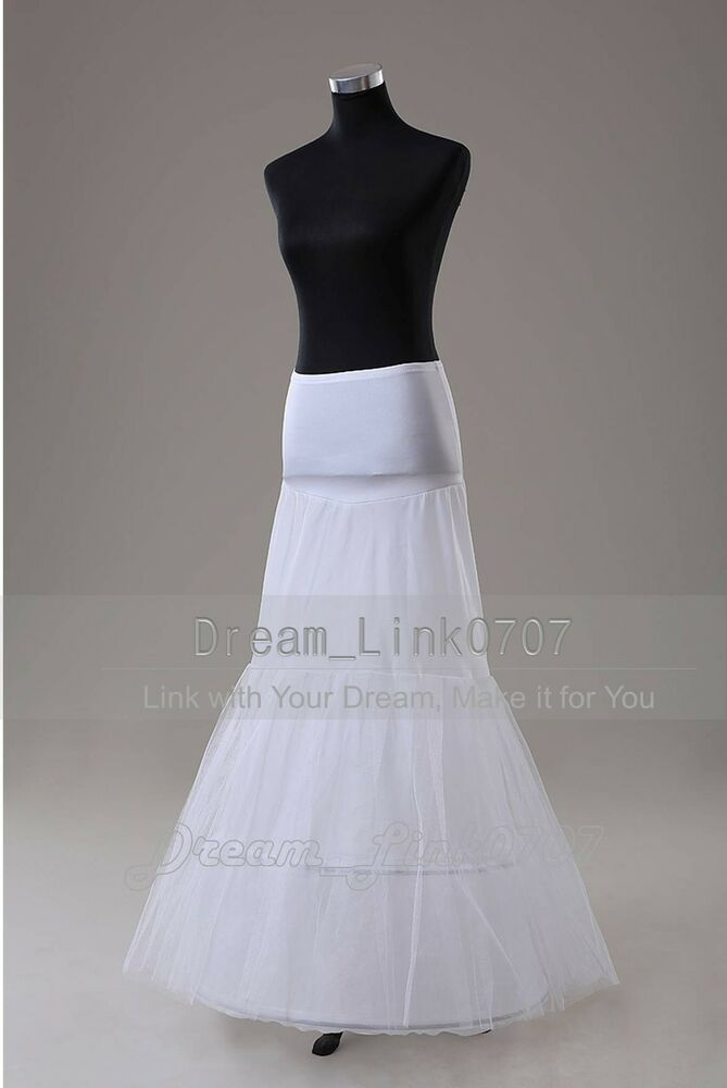 2 hoop fishtail mermaid wedding dress bridal petticoat for Mermaid slip for wedding dress