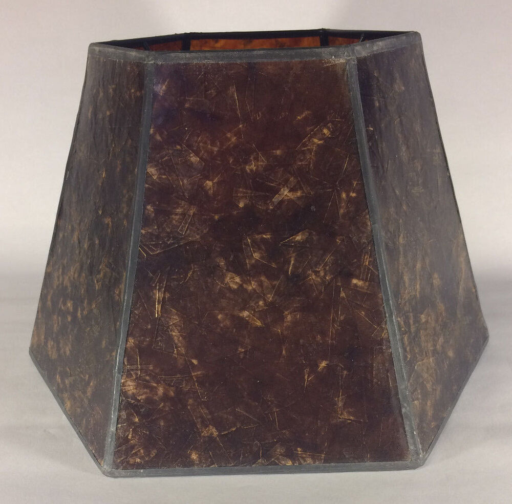 7 x 12 x 7 1 2 antique amber hexagon style mica uno. Black Bedroom Furniture Sets. Home Design Ideas