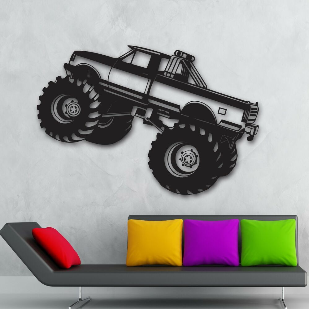 Monster truck wall stickers car pickup for garage suv for Cars wall mural sticker