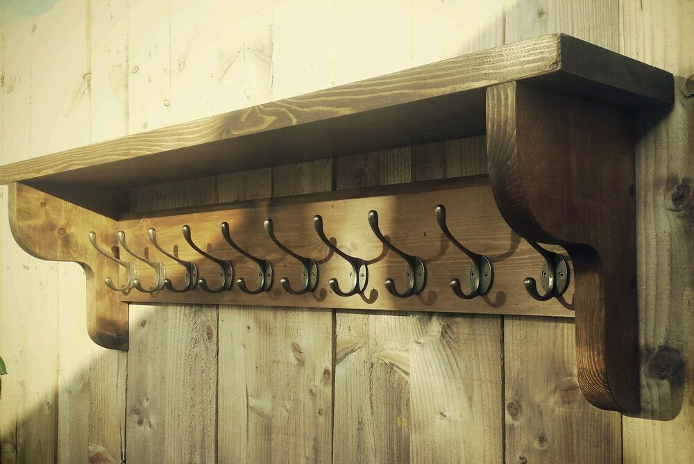 Extra Large Vintage Style Coat Hook Rack With Shelf Ebay