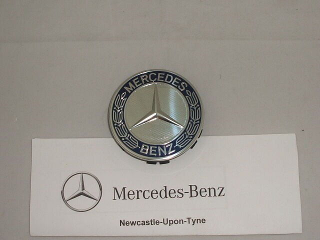 Genuine mercedes benz blue emblem alloy wheel hub cap for Mercedes benz wheel cap emblem