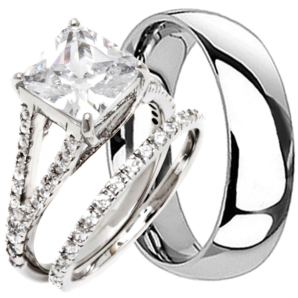 his and hers wedding rings 3 pcs engagement cz 925