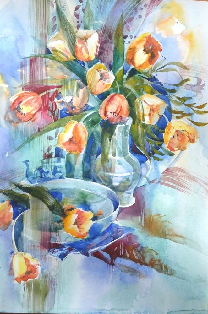 Watercolor painting aquarelle hand painted flowers tulips for Watercolor paintings of hands