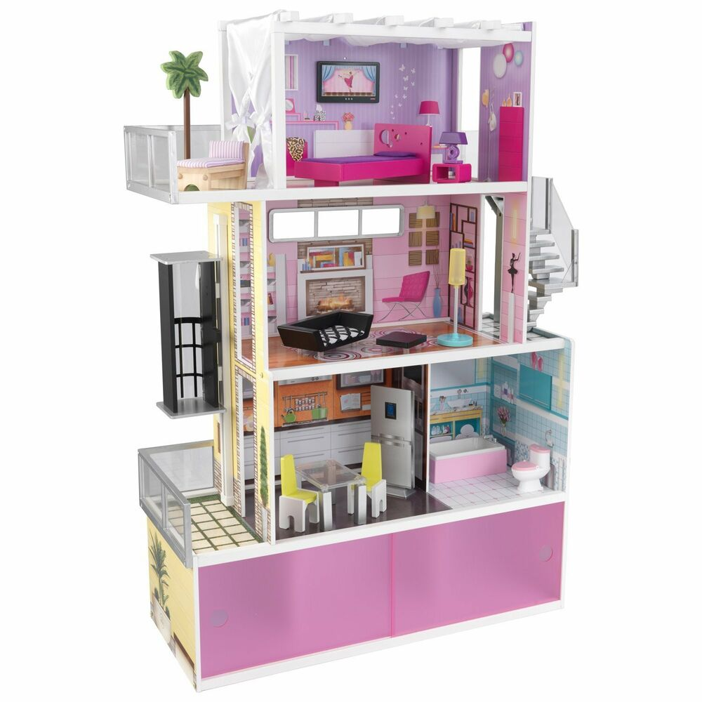 Kidkraft Beachfront Mansion Dollhouse Doll House Furniture Elevator Wooden Ebay