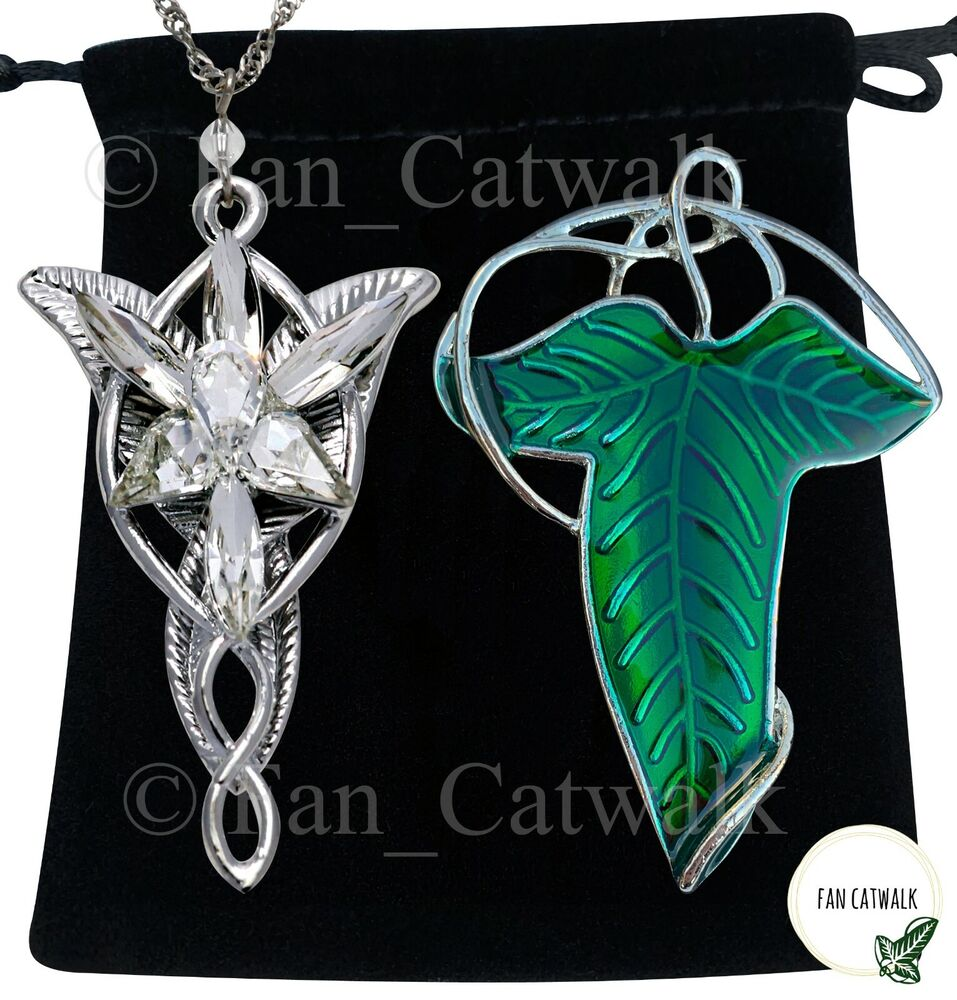 elven leaf brooch arwen evenstar necklace set hobbit