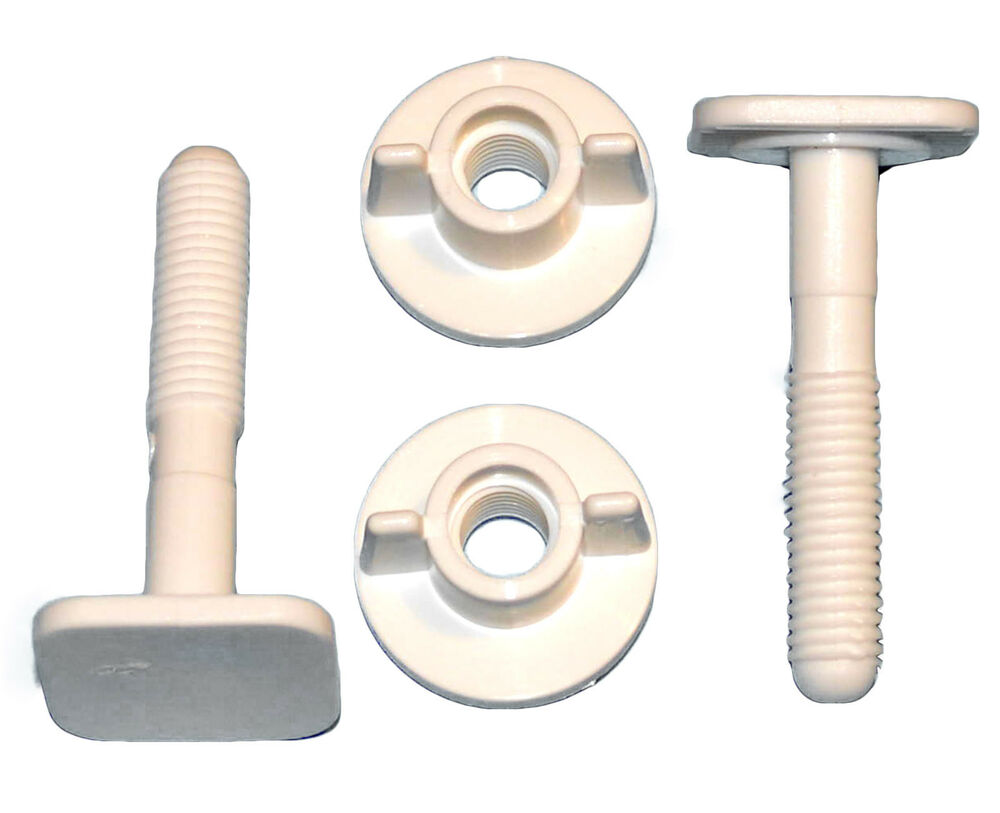 2 White Replacement Toilet Seat Screws Hinges Fittings