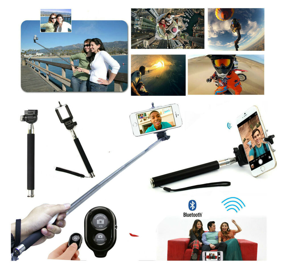 monopod selfie stick bluetooth remote for samsung htc iphone android phones ebay. Black Bedroom Furniture Sets. Home Design Ideas