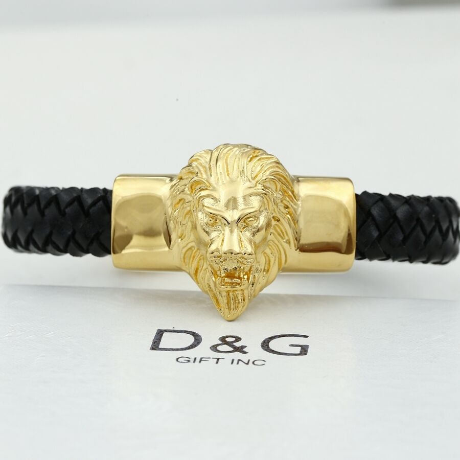 Dg Mens 8 5 Quot Gold Stainless Steel Lion Head Black Braided