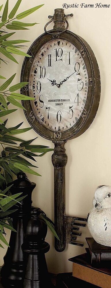 Large Vintage Wall Decor : Large elegant metal key clock wall decor shabby antique