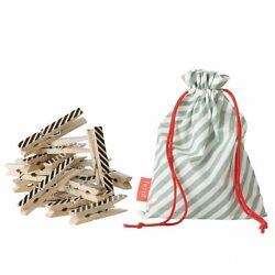 Ferm Living Striped Birch Wooden Clothes Pins with Mint Storage Bag - 20ct