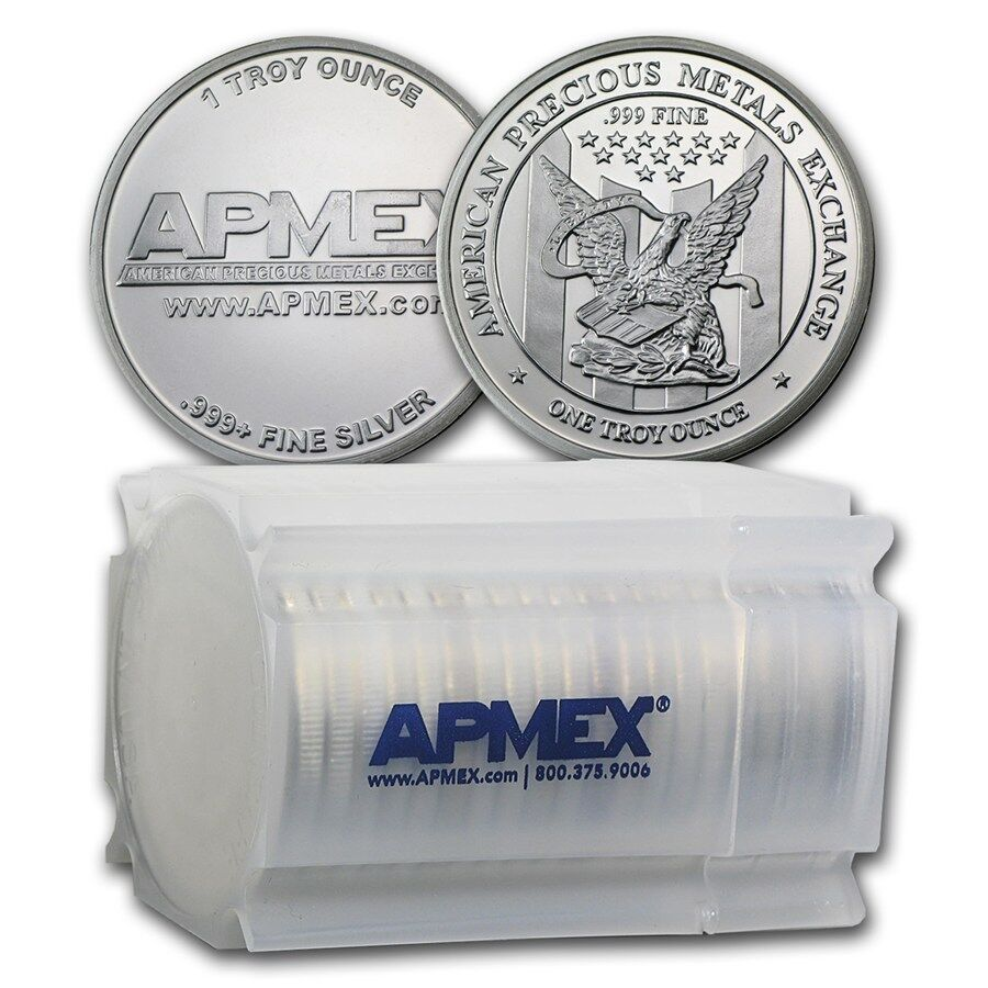 1 Oz Apmex Silver Rounds 999 Fine Lot Roll Tube Of 20