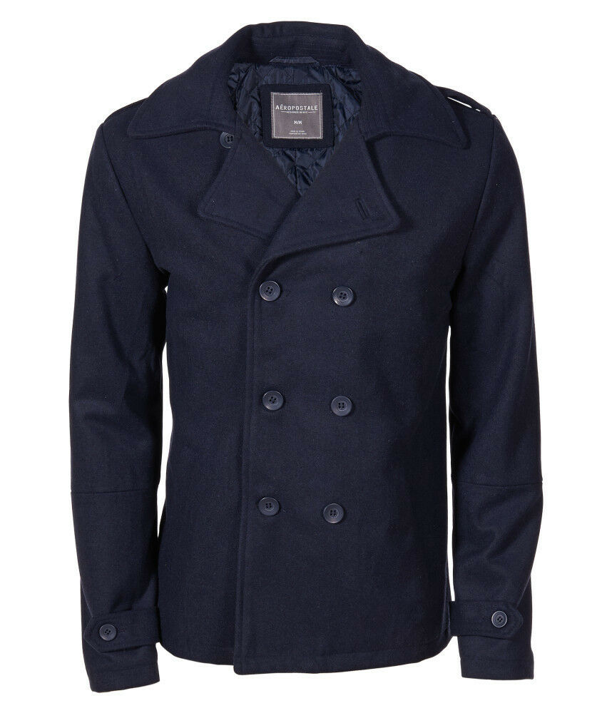 Aero Aeropostale Men Solid Peacoat Navy Pea Coat Jacket Xs
