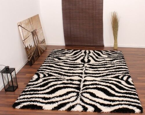 teppich hochflor shaggy muster zebra schwarz weiss ebay. Black Bedroom Furniture Sets. Home Design Ideas