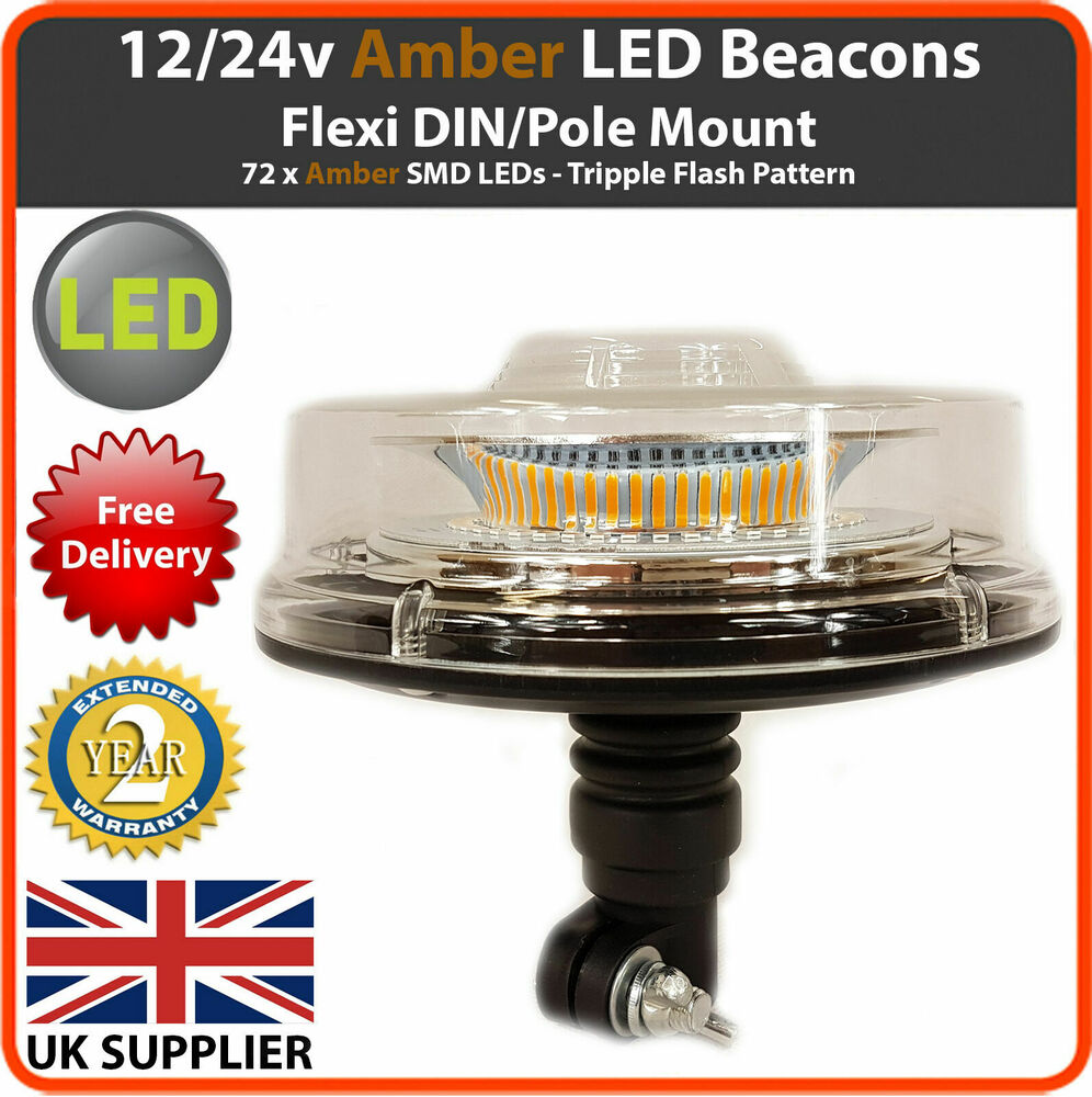 12 24v Led Beacon Flexible Din Pole Mount Tractor