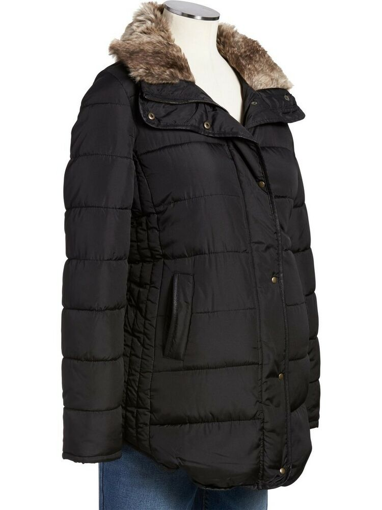 OLD NAVY Maternity Frost Free Fur Puffer Black Winter ...