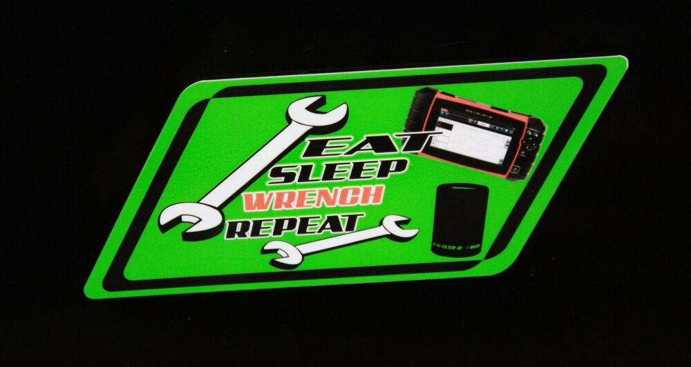 Eat Sleep Wrench Repeat Decal Green Matco Tool Box Cart