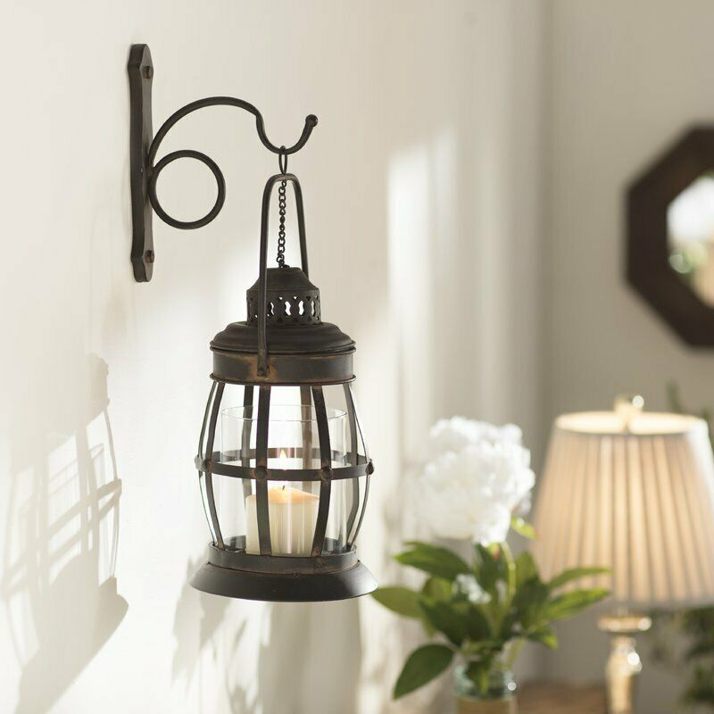 Metal Lantern Wall Sconce Rustic Industrial Antique