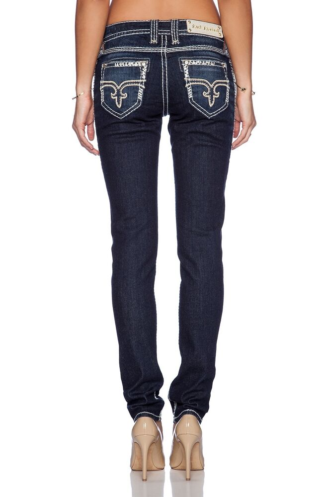 NEW ROCK REVIVAL Women's Denim ERIN Gold White Stitch ...