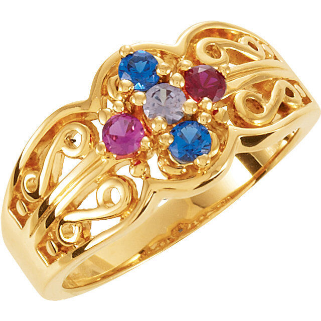 14k Solid Gold Mother S Birthstone Ring 1 To 7 Stones