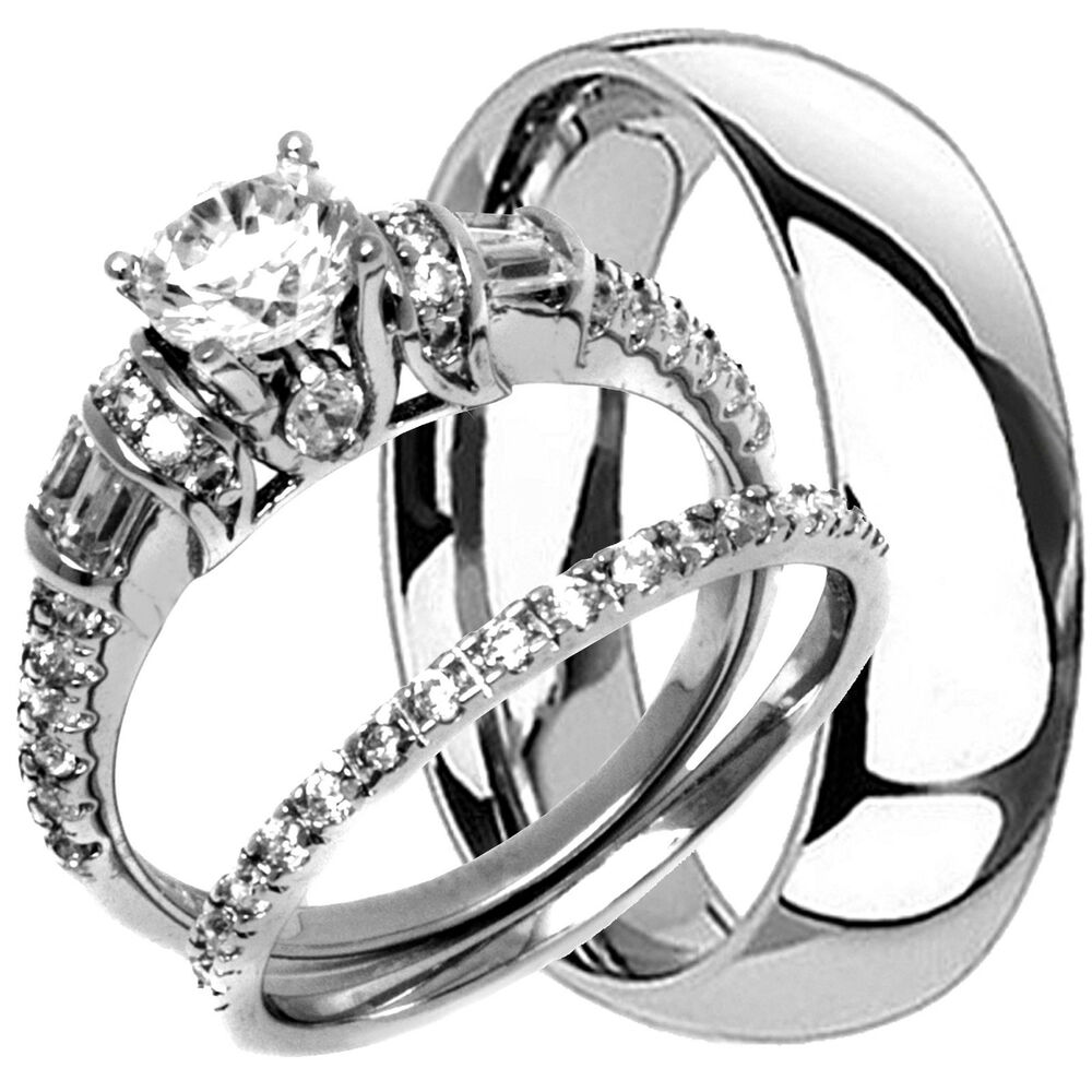 Titanium mens band and 2 pc womens engagement wedding cz for Wedding rings his and hers sets
