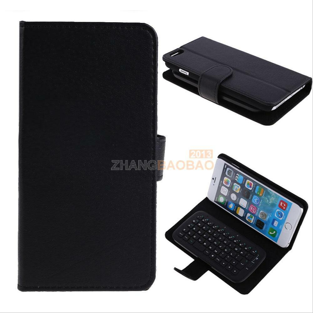 Black Wireless Bluetooth Keyboard Leather Case Cover For Apple iPhone ...