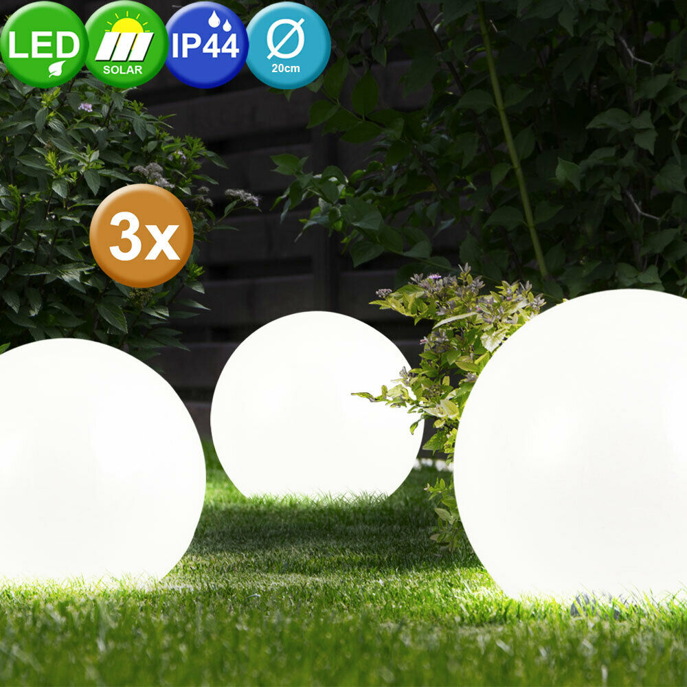3 er set led garten leuchte solar kugel solarlampe gartenlampe kugelleuchte ip44 ebay. Black Bedroom Furniture Sets. Home Design Ideas