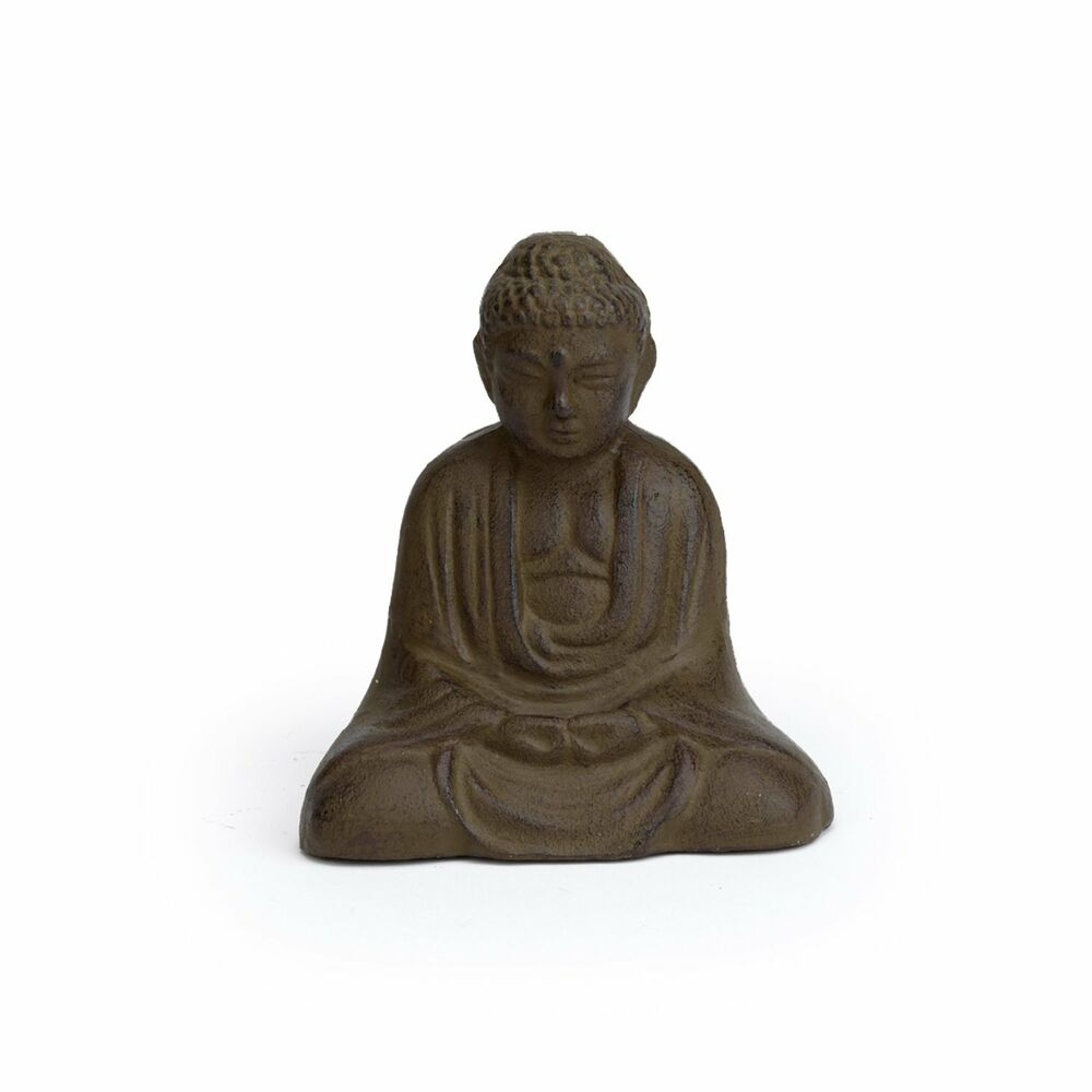abbott cast iron sitting buddha figurine statue figure zen garden art oriental ebay. Black Bedroom Furniture Sets. Home Design Ideas